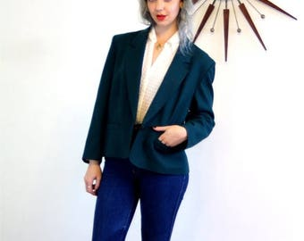 SALE 50% OFF Vintage 80s PENDLETON Wool Jacket Deep Dark Emerald Preppy Ladies Blazer One Button Boxy Big Shoulder Pads Womens 1980s Short L