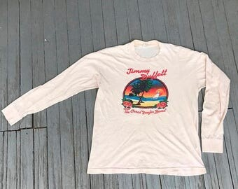 SALE 50% OFF Vintage Jimmy Buffett 80s Band T-Shirt the Coral Reefers Concert Tour Belton Authentic Tequila Sunrise Tropical Rock n Roll Lon