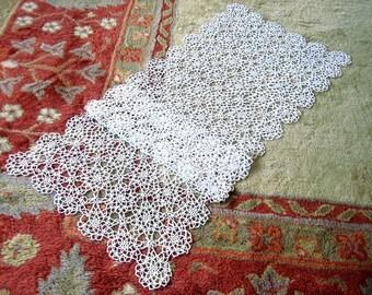 "HAND CROCHETED Lace Dresser Runner Bureau Scarf Cotton Tablecloth Dense White Intricate Curls 47"""