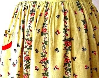 APRON Kitchen Skirt Bottom Cover PINAFORE Vintage Yellow Chintz Flowers