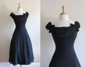 Vintage Laura Ashley Black Silk Chiffon Off the Shoulder Dress