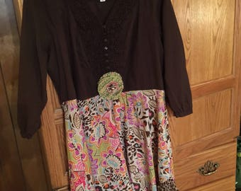 Altered, repurposed, recycled, tunic, multicolored, romantic, Boho, gyspy