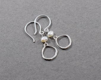 Handmade Organic Circle and Freshwater Pearl Earrings, Sterling Silver Earrings, Circle Earrings, Silver Earrings, Artisan Earrings, E061