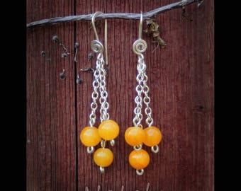 Baltic Amber Earrings, Yellow Earrings, Dangle Earrings, Long Earrings, Chain Earrings, Sterling Silver Minimal Earrings, Tassel Earrimgs