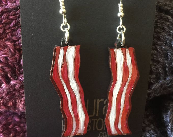 Hand Painted Bacon earrings