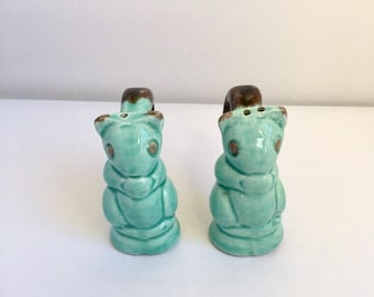 Vintage Squirrel Salt and Pepper Shakers Ceramic in Robin's Egg Blue