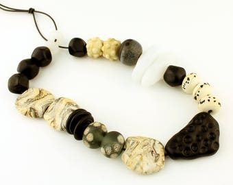 Lampwork Beads Set  Tribal, Rustic, Organic, Etched Matte, Ivory, Black and White
