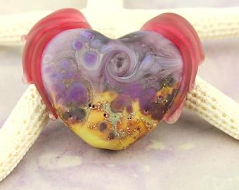 Lampwork Glass Winged Heart Bead Organic Focal, Matte Purple, Gold, Cranberry, Silver