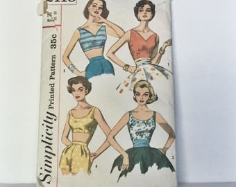 Vintage 1950s Simplicity Pattern 2118 -  Rockabilly Pin Up Crop Top Bra and Sleeveless Blouse Pattern  - Misses Size Small Bust 32 inches