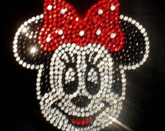"""SALE 6"""" Red Minnie Mouse FACE iron on rhinestone transfer for Disney costume tshirt WHOLESALE available"""