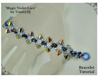 BP-PEY-148-2017-060 - Magic Violet Lace - Bracelet Tutorial, 2 hole bead jewelry, beadweaving pattern, beaded bracelet, beadwork