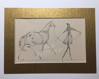 "Horse Art: Lead Line. Original Ink Drawing on Off White 4""x6""  Acid Free Paper. Matted to 5""x 7"""