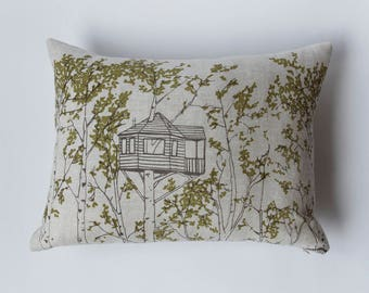 SALE 20% OFF - Linen Pillow Cover - Rectangle Green Tree Houses