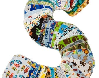 On Sale Sweet Bobbins Cloth Wipes - Boys Mixed Print Starter Set - 12 wipes - flannel and OBV - SOFT - 6x8 size
