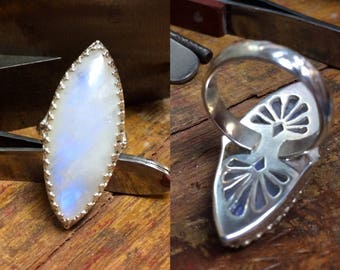Large Moonstone Ring with Marquis Shaped Cabochon Handmade in Sterling Silver