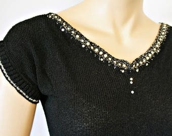 Black Knit Top 1940's 1950's Rayon Short Sleeve Blouse Stretchy Pearl Rhinestone Size Small