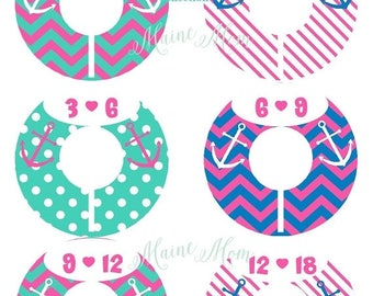 ON SALE 6  Baby Closet Dividers, Nautical, Anchor, Hot Pink, Aqua Blue, Nautical Nursery Decor, Baby Shower Gift, Baby Clothes,