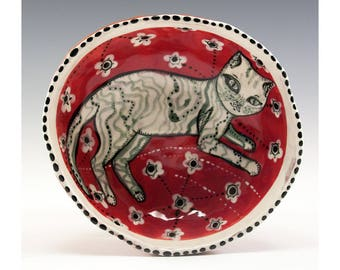 Striped White Cat Painting by Jenny Mendes in a Red Ceramic Pinch Bowl Finger Bowl