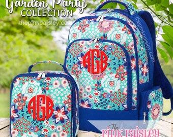 Monogrammed Backpack and Lunch Box | Personalized Backpack | Girls School BookBag | Back To School | Garden Party Collection