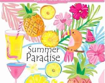 Summer Paradise Clip Art - digital clip art for all use, instant download , ON SALE