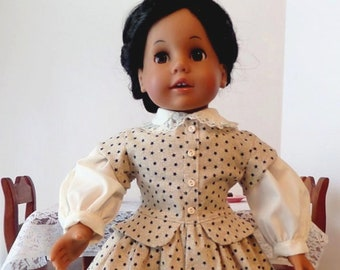 1861 - 1865 Designer Civil War Doll Dress And Apron / 18 Inch Doll Clothes / Doll Clothing / Doll Accessories / American Girl Doll - 1013