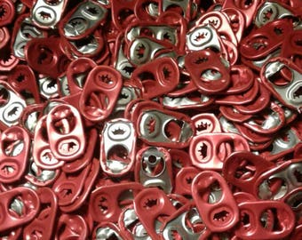 Bulk size of 100 Red Aluminum Soda Tabs... I believe they came off Budweiser Cans.  Ready to craft and have fun with!!!