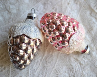 Vintage Christmas Mercury Glass Ornaments - 2 Mica Frosted Grape Clusters in Pink and Silver