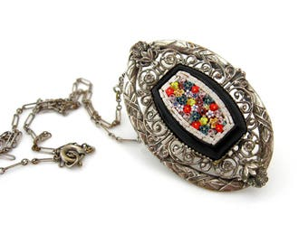 Vintage Art Deco Necklace, Micromosaic Glass Flower, Filigree Paper Clip Chain, Vintage 1930s Jewelry