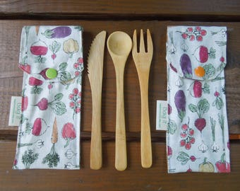 Reusable bamboo cutlery and carrying pouch  - Picnic cutlery case - Flatware pouch - Bamboo cutlery - Home grown veggies