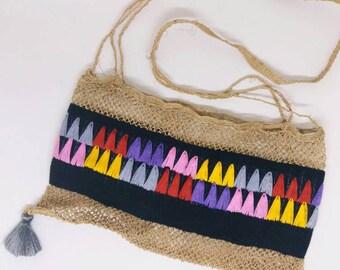 handmade hemp shoulder bag.