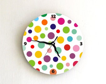 Polka Dots modern Colorful childrens bedroom nursery handmade graphic design wall clock