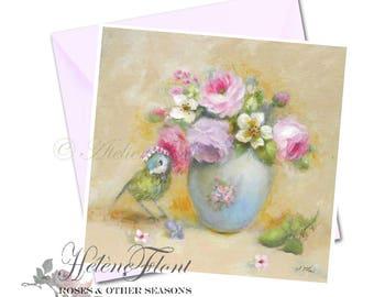 Carte Impression - Oiseau Couronne Bouquet romantique Princesse Miniature Bébé Catherine Klein Printemps Roses © Hélène Flont Designs