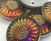 LARGE 27mm VITRAIL Czech Glass Daisy Button, 27mm Czech Glass Button, 27mm Button, Daisy Button, Czech Glass Daisy, Czech Glass Buttons,