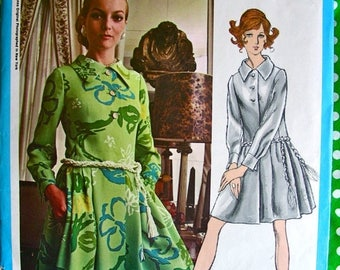 Sale:) JAMES GALANOS Designer * Uncut * 1970s  Vogue Americana Pattern 2270 -   GLAMOROUS Mod Mini Drop Waist Coat Dress // Bust 36