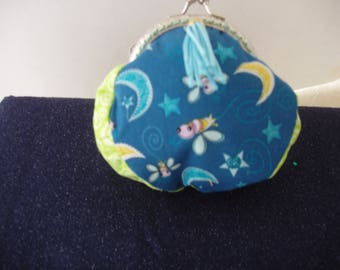 Coin Purse, Pouch,Metal Closure,Tassel,Graphics, Bumble Bees,Stars,Moon,Blue