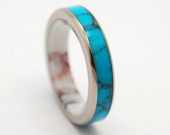 wedding ring, titanium ring, stone ring, womens rings, Titanium Wedding Bands, Eco-Friendly Wedding Rings,  - ONCE in a BLUE MOON