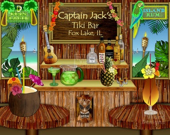 Tiki Bar, personalized art print, bar art, mancave decor, polynesian, Hawaii, Florida, pina colada, island time, tropical decor, vacation