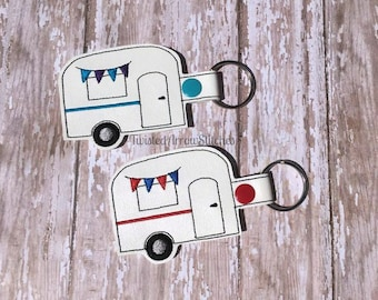 Camper Key Fob, Camping Key Chain, Multiple Colors, Caravan, Travel Trailer