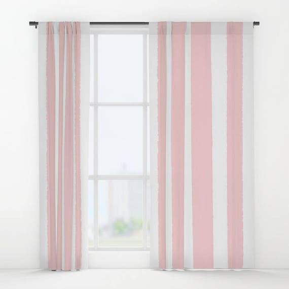 Blush Pink and White Striped curtains - Striped Curtains - Rose curtains - Window Curtains - Window Treatments - Stripe Curtain Panel Drapes