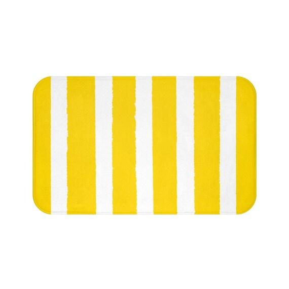 Bath Mat - Yellow Bath Mat - White Striped Bath Mat - Yellow Bath Rug - Yellow Shower Mat - Yellow Rug - Geometric Rug - Yellow Striped Rug