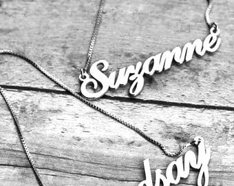 DOUBLE THICK name necklace, Any type of letter of your choice, Silver Name Necklace, Personalized Hand Crafted Name Necklace