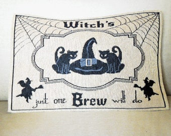 Halloween Pillow Witches and Black Cats Tapestry Fabric