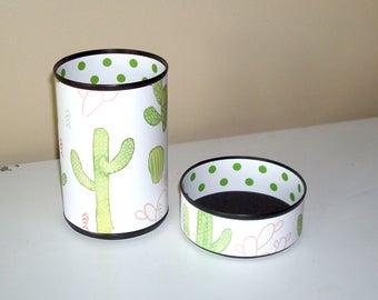 Cute Cactus Desk Accessories / Succulent Pencil Holder / Polka Dot Pencil Cup / Office Desk Organizer / Dorm Decor - 1063