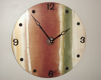 silent rustic wall clock 10 or 12 inches unique wall clock large wall