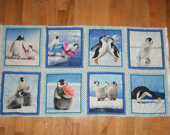 Fabric Wall Hanging Panel Cheater Quilt Perky Penguins Pillow Supply Bin Applique Banner Flags Bunting Playful Winter Birds Ice Snow
