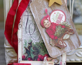 Christmas Tree Tag, Holiday Art Tag, Handmade Christmas Tag, OOAK Tag