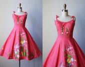 60s Dress - Vintage 1960s Dress - Candy Pink Princess Seamed Full Skirt Sundress w Embroidery and 3D Butterflies XS to S - Flutter Dress