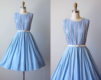 50s Dress - Vintage 1950s Dress - Blue Cotton Pintucked Lace Trimmed Full Skirt Sundress M - Hydrangea Shadows Dress