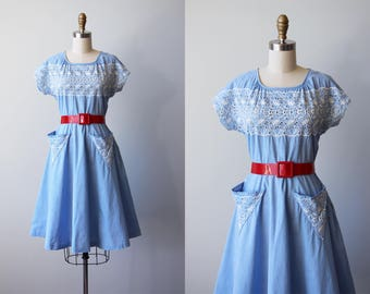 1940s Dress - Vintage 40s Dress - Blue Chambray Cotton w Eyelet Embroidery and V-shaped Pockets Dress M - Bell Tower Dress