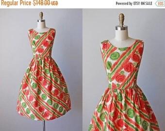 ON SALE 1950s Dress - Vintage 50s Dress - Vivid Orange Green Pink Rose Print Cotton Full Skirt Sundress L - Sunkissed Dress